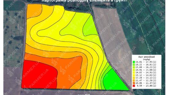 Картограмма распределения аммонийного азота в почве